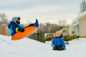 Picture of a child sledding
